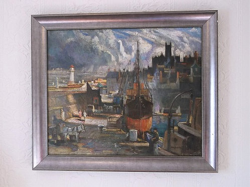 Newlyn harbour Oil painting on canvas by Tom Anderton.