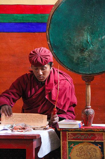 Monk Praying at Hemis Monastery, Ladakh