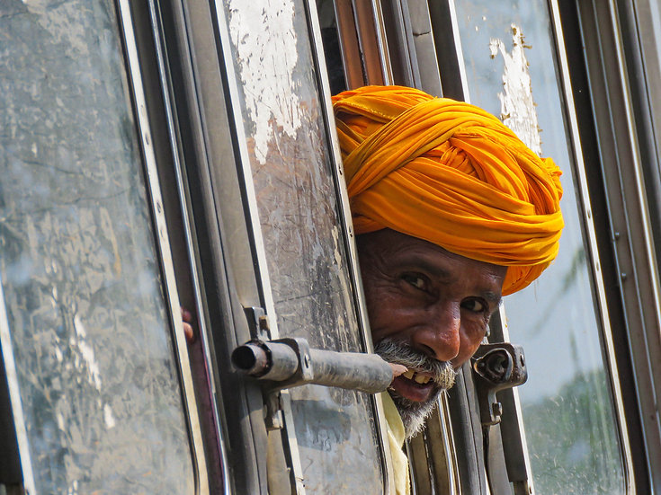 Man at the Bus Window, Rajasthan