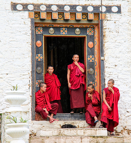 Monks outside Simtokha Monastery