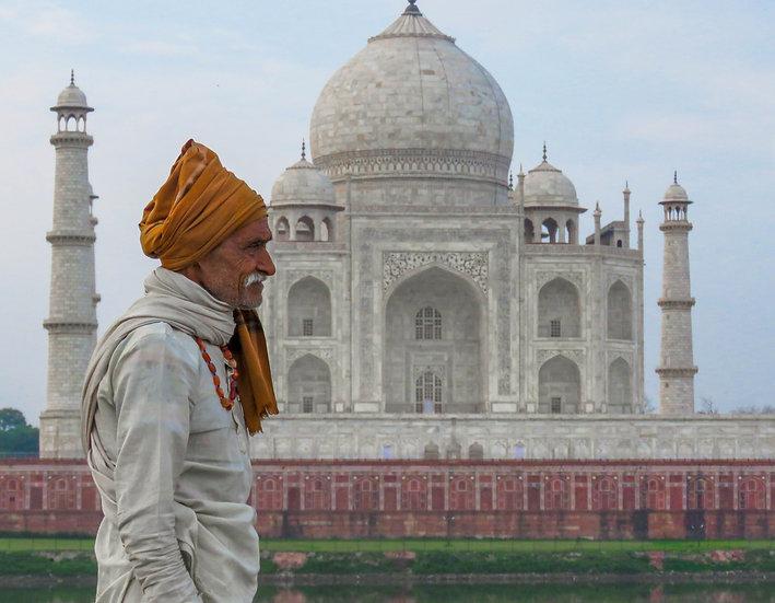 Man in Front of Taj Mahal, Agra