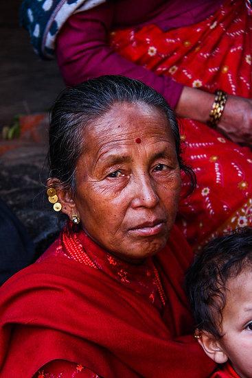 Woman with Red Shawl, Kathmandu