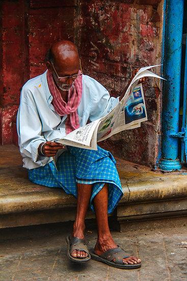 Man Reading Newspaper, Kashmir