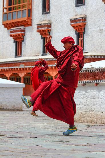 Monks Rehearsing for Festival, Ladakh