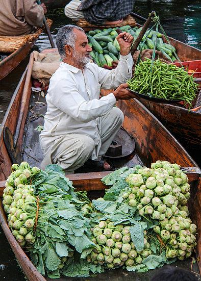 Seller at the Dal Lake Floating Market, Kashmir