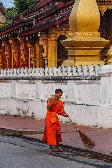 Monk Sweeping the Street, Luang Prabang