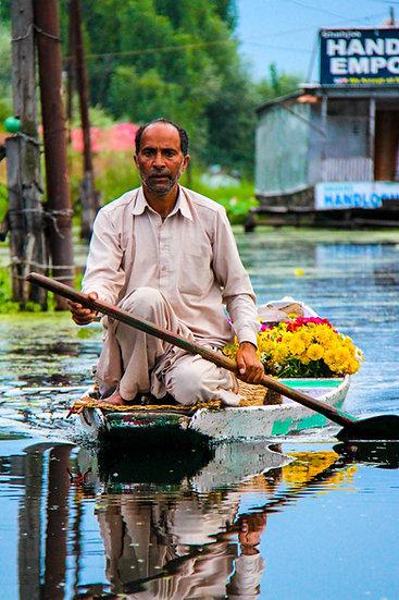 Flower Seller on Dal Lake, Kashmir