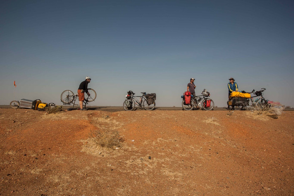 Puncture repair in the Sahara desert, Sudan