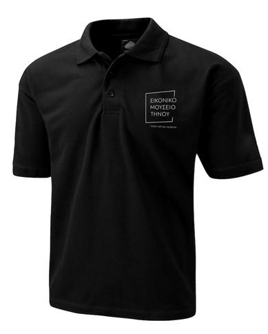 black staff polo with logo