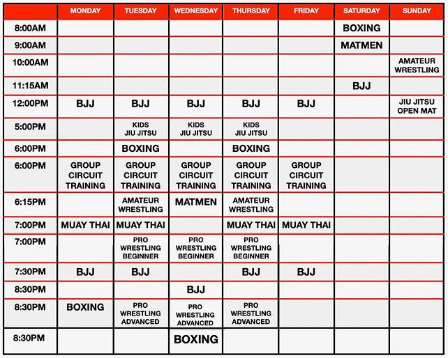 Battle Arts Schedule