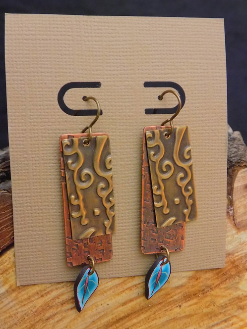 Stamped Brass & Copper Earrings with Blue Polymer Leaf