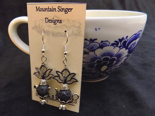 Silver Tea Pot Earrings with Essential Oil Beads and Lotus Flowers