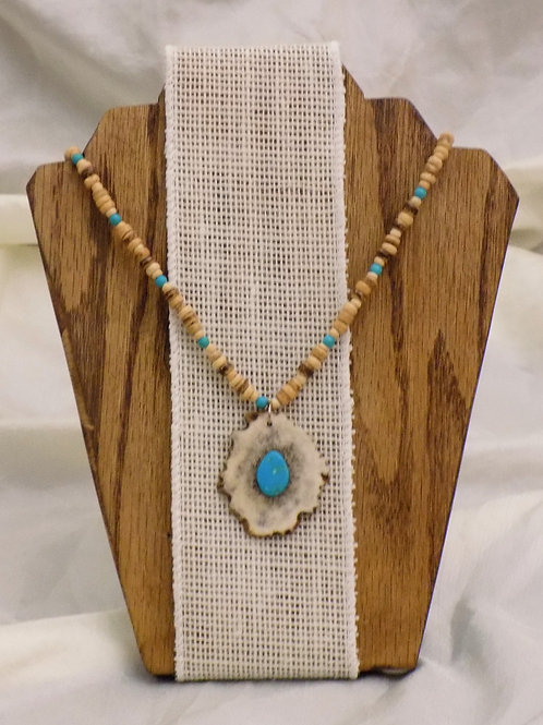 Antler Necklace with Colorado Turquoise & Wood Disc Beads