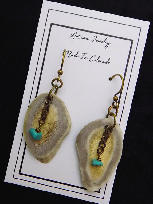 Antler Earrings with Turquoise & Antique Brass Chain