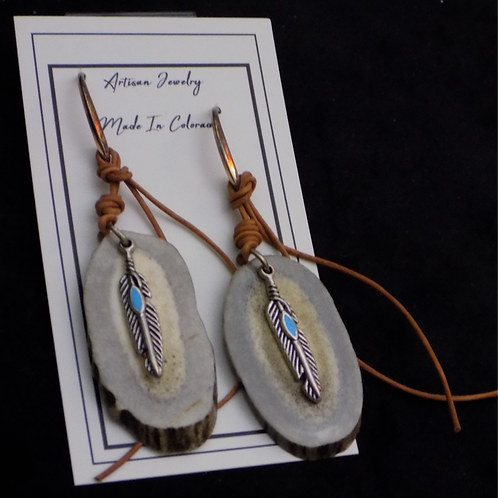 Antler Earrings with Pewter Feathers & Leather