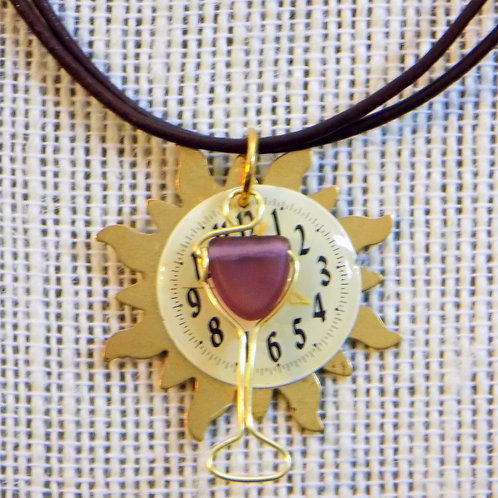 Time for Wine: Brass Sun Necklace