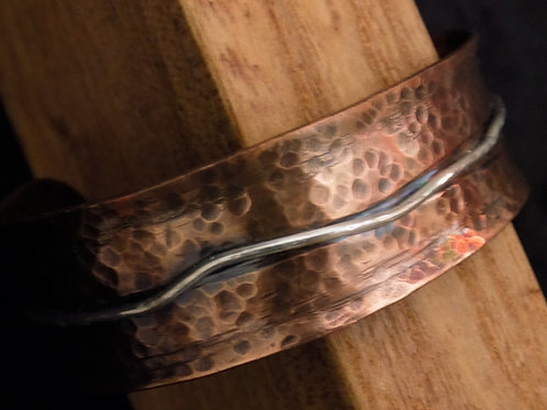 Hammered Copper Bracelet with Sterling Silver Wire