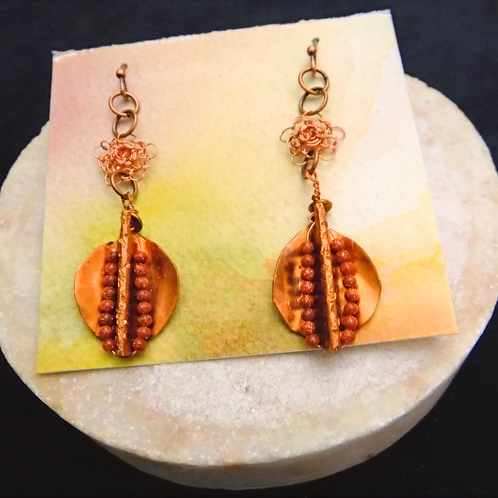 Folded Copper Earrings with Moonstone beads
