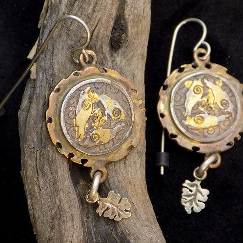 Raven Triskele Earrings with Dangles