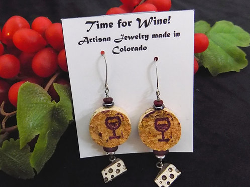 Time For Wine Cork Earrings