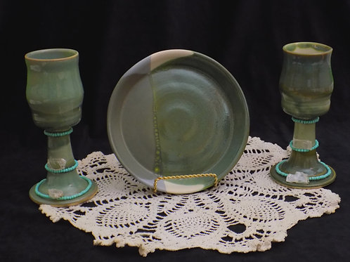 Green Plate & Chalice Set