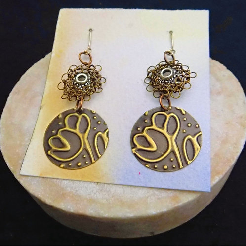 Brass Stamped Patina Earrings with Brass Filigree