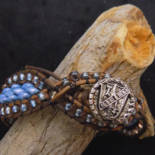 Bead Wrap Bracelet with Woven Czech Glass and Leather