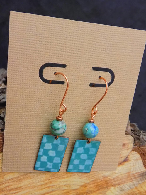Two Tone Blue Enamel Earrings