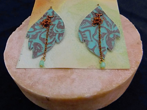 Blue Leather Earrings with Copper Filigree