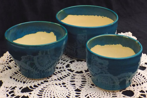 Set of 3 Turquoise Mixing & Serving Bowls