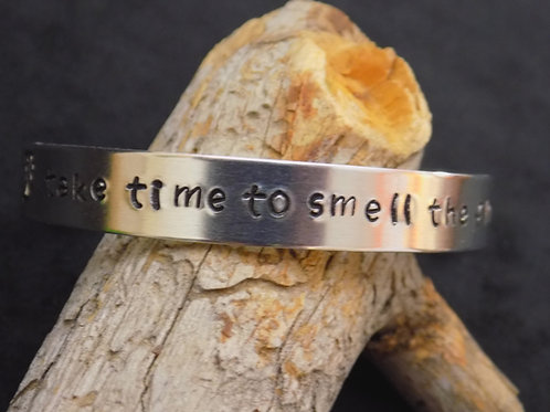 Aluminum Bracelet: Take time to smell the Flowers