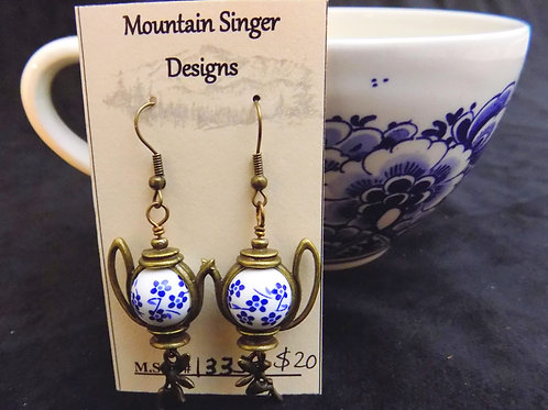 Bronze Tea Pot Earrings with Hand Painted Beads and Bronze Fairies