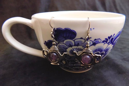 Purple Bead Tea Pot Earrings