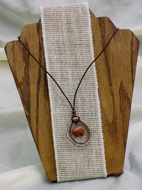 Antler Necklace with Goldstone Horse on Leather Cord with Gemstone beads