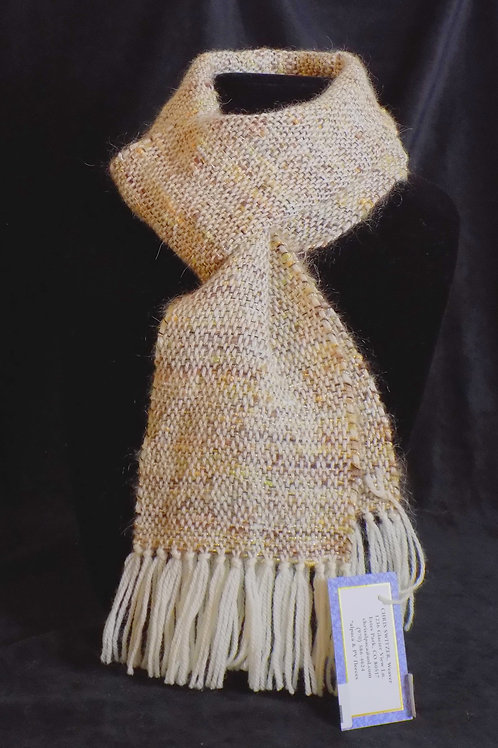 Handwoven Beige Mohair Scarf with Metallic