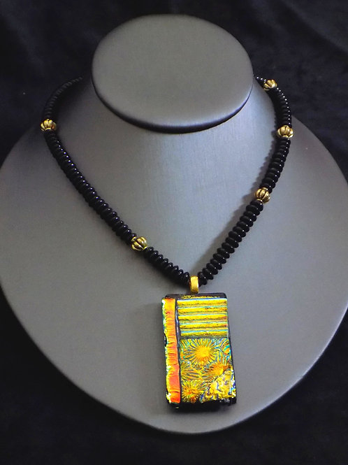 Golden Field Fused Glass Necklace