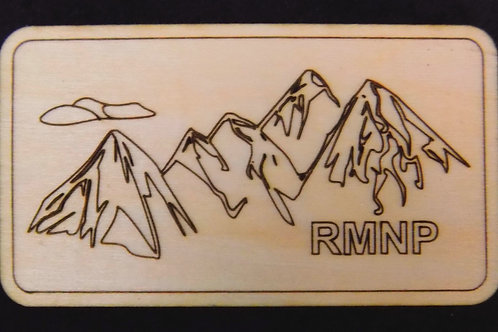 Mountain Silhouette RMNP Wood Magnet