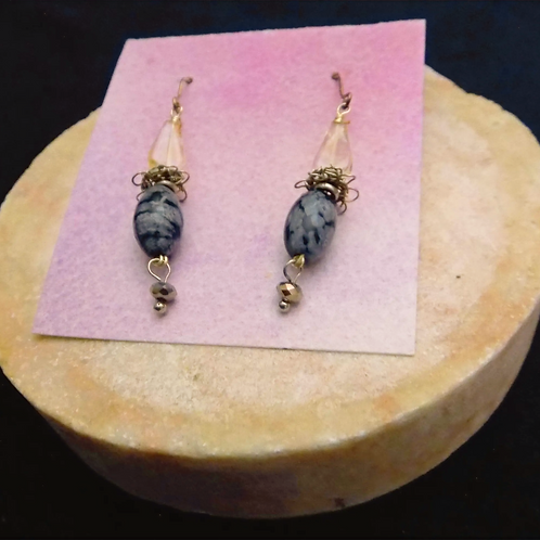 Silver Filigree Earrings with Snowflake Obsidian