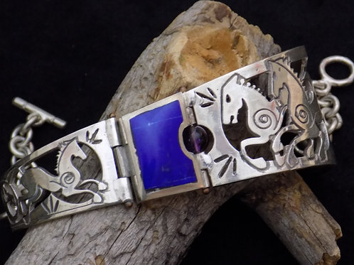 Stallions Bracelet: Azurite with Amethyst Bead