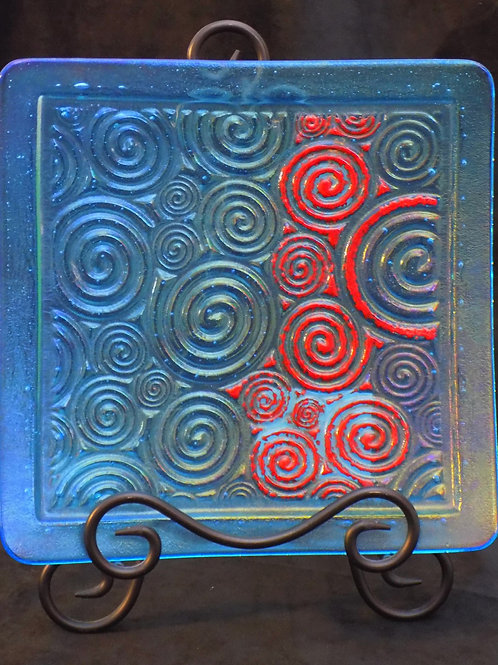 Red Tide Fused Glass Plate