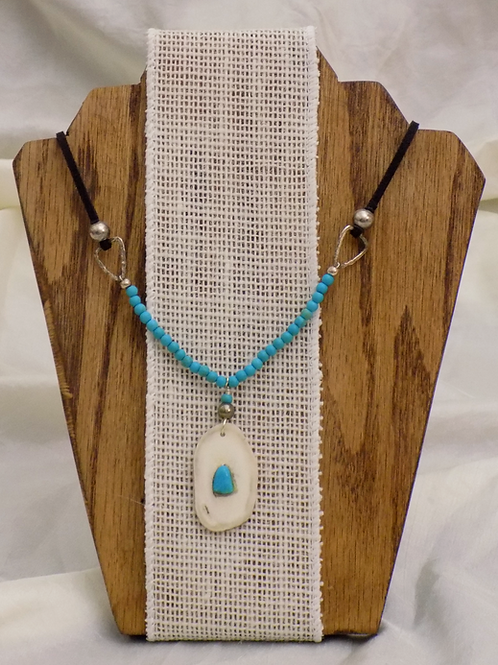 Antler Necklace with Colorado Turquoise & Black Suede Cord