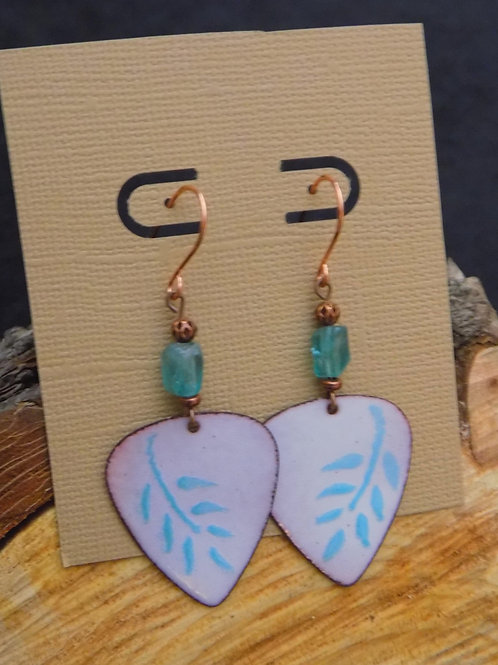 Enameled Leaf Triangle Copper Earrings