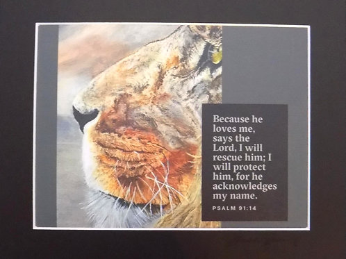 Matted Art Print: Lion Profile with Bible Quote
