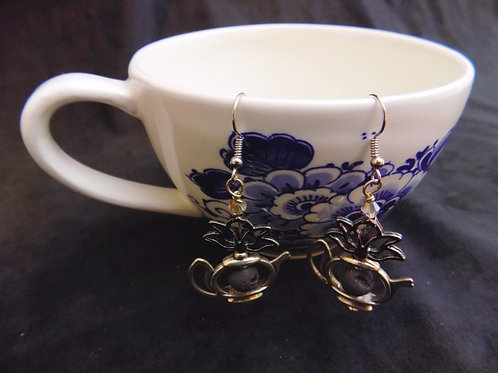 Lotus & Essential Oil Bead Tea Pot Earrings