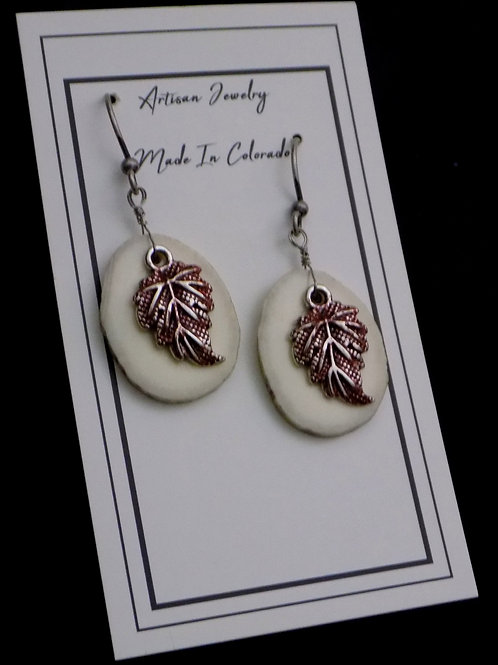 Antler Earrings with Pewter Leaves
