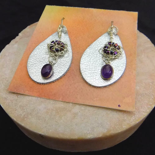Silver Leather Earrings with Silver Filigree & Amethyst