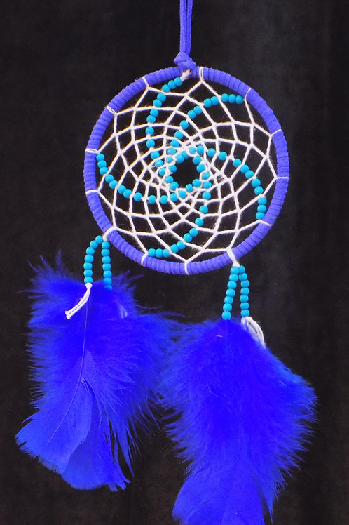 """4"""" Colbalt Blue Dreamcatcher with Turquoise Blue Beads"""