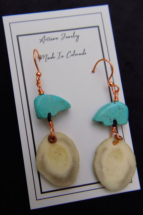 Antler Earrings with Turquoise Bear on Copper Wire
