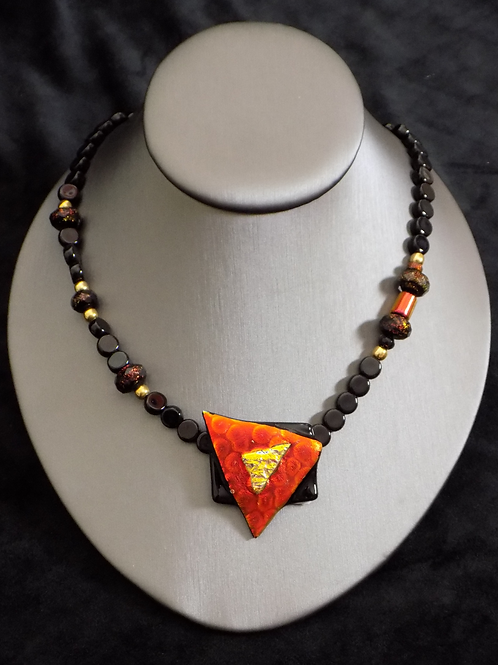 Geometric Magma Fused Glass Necklace