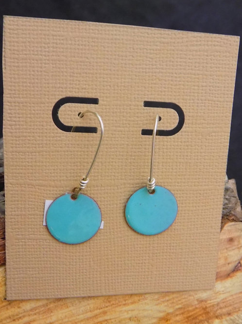 Small Round Turquoise Enamel Earrings